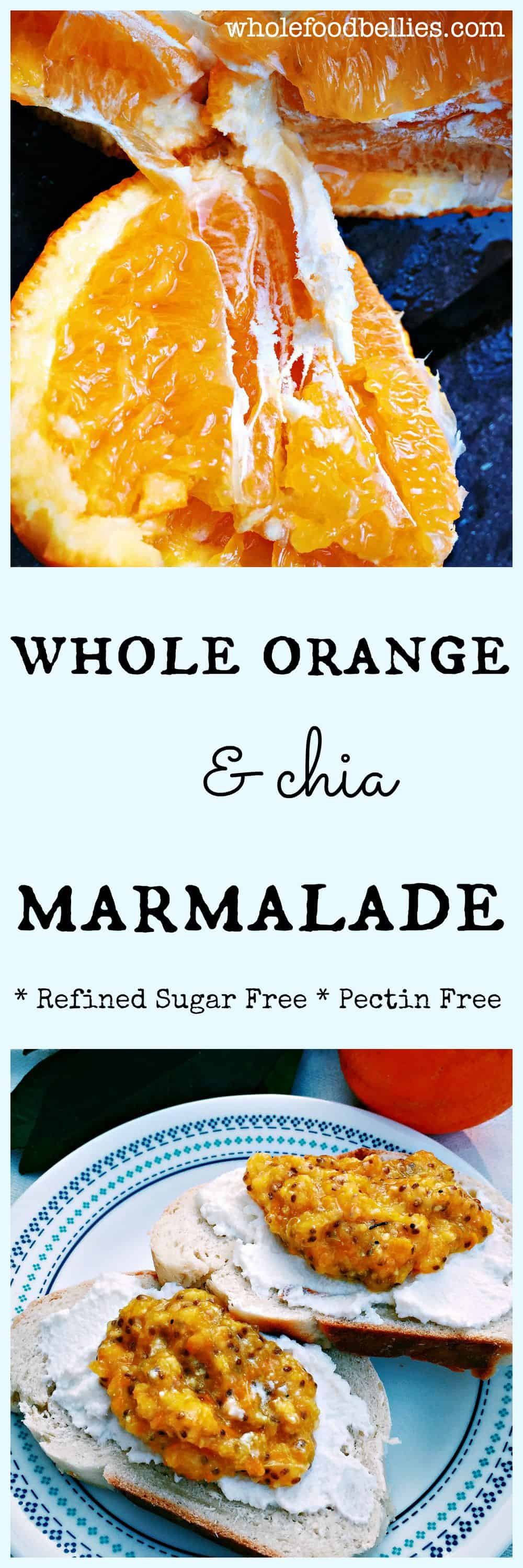 Whole Orange Chia Marmalade. Clean eating and full of goodness. Freezer friendly