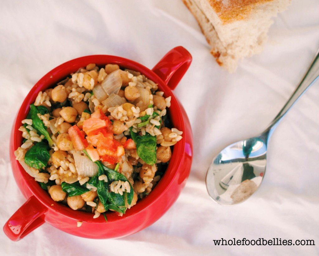 Chickpea, Spinach and Brown Rice Pot @wholefoodbellies.com