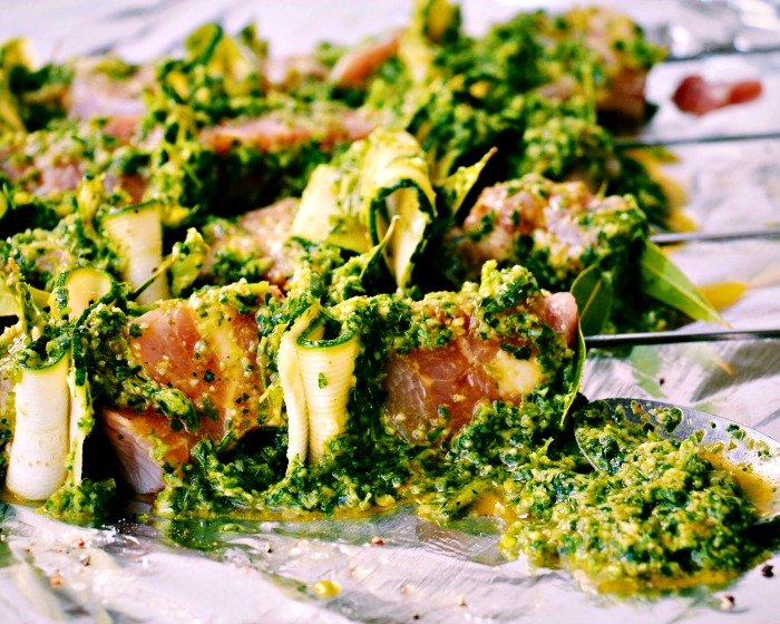 Marinated Chicken Skewers with Zucchini and Quick Salsa Verde