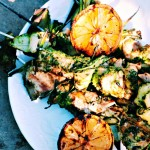 Chicken and Zucchini Skewers with Salsa Verde @wholefoodbellies.com