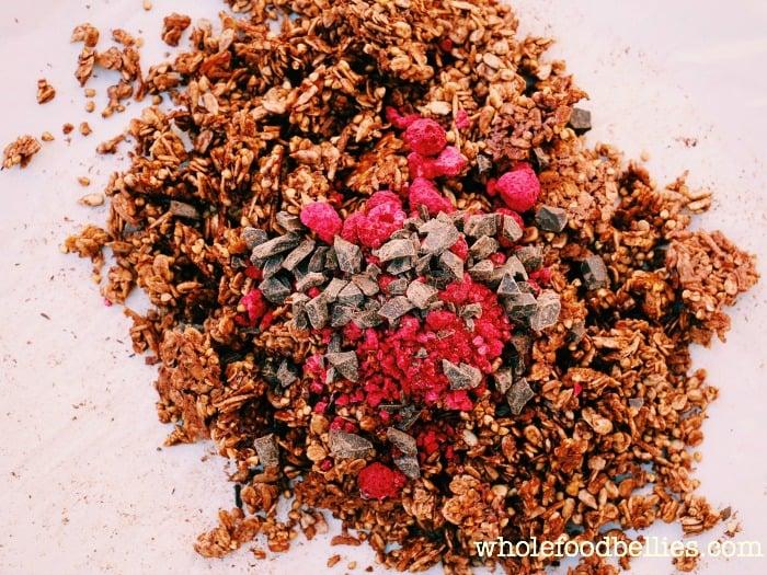 Raspberry Dark Choc Chunk Granola @wholefoodbellies.com