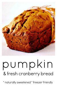 close up shot of Pumpkin and fresh cranberry bread