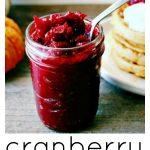 cranberry and vanilla bean butter in a glass mason jar