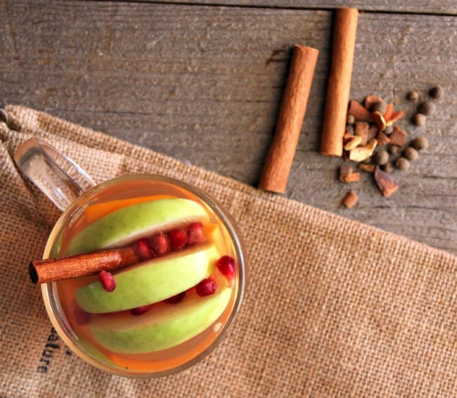 Fall Harvest hot apple Cider. Pop all the beautiful, fresh fruit from the farmers market into the crockpot, and warm up with this delicious warm cider. Perfect for chilly nights.