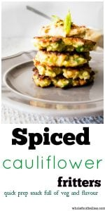 Spiced Cauliflower Fritters. Quick and easy prep for these great little fritters packed full of veg and cheese. Serve up with some hummus or with a salad. Kid approved