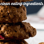 a stack of  Chocolate, Pecan, and Pomegranate Healthy Oatmeal Cookies Recipe on a white plate