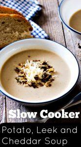Slow Cooker Potato Leek and Cheddar Soup