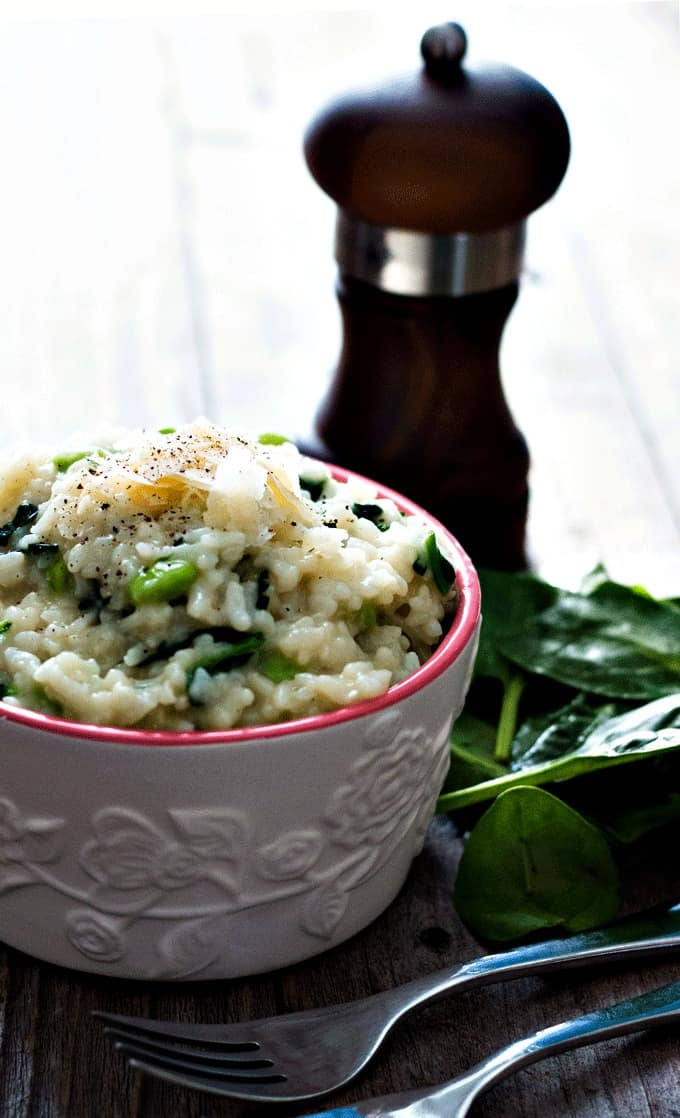 Edamame and Spinach Risotto