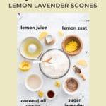 pin showing ingredients for vegan lemon scones