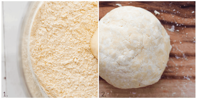 infograph on making crostata dough: pulse until resembles breadcrumb and then combine with ice water until it comes together