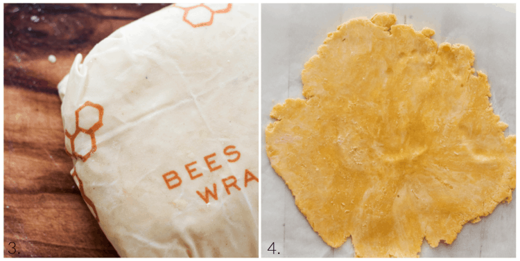 making crostata dough: wrap in beeswax or cling wrap and put in the fridge for an hour. Roll into a rough circle