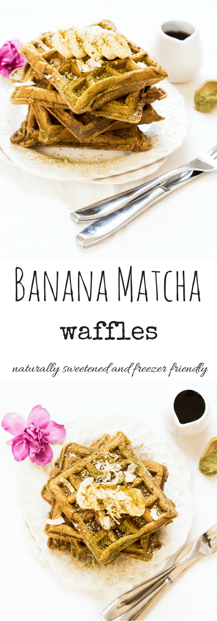 Simple and delicious Banana Matcha Waffles. Naturally sweetened and freezer friendly