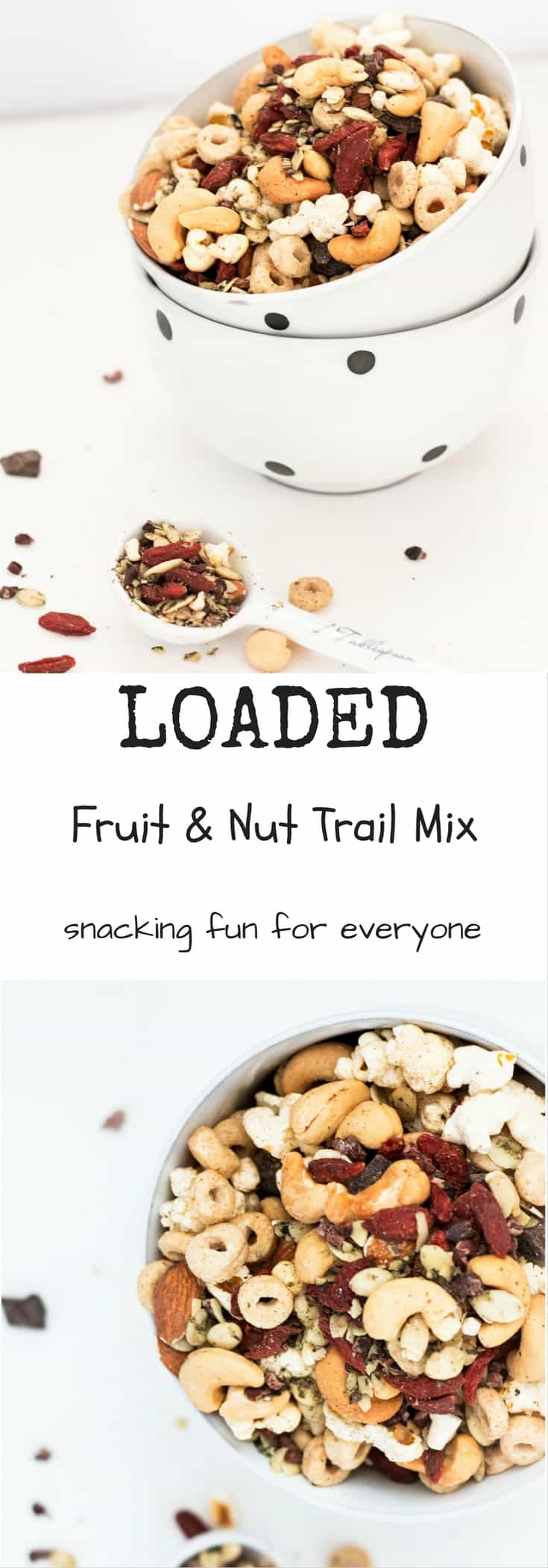 Loaded Fruit and Nut Mix with Dark Chocolate Studs. Make a fun and healthy snack for the whole family.