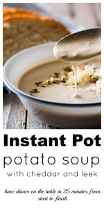 Creamy Instant Pot Potato Soup with Cheddar and Leeks