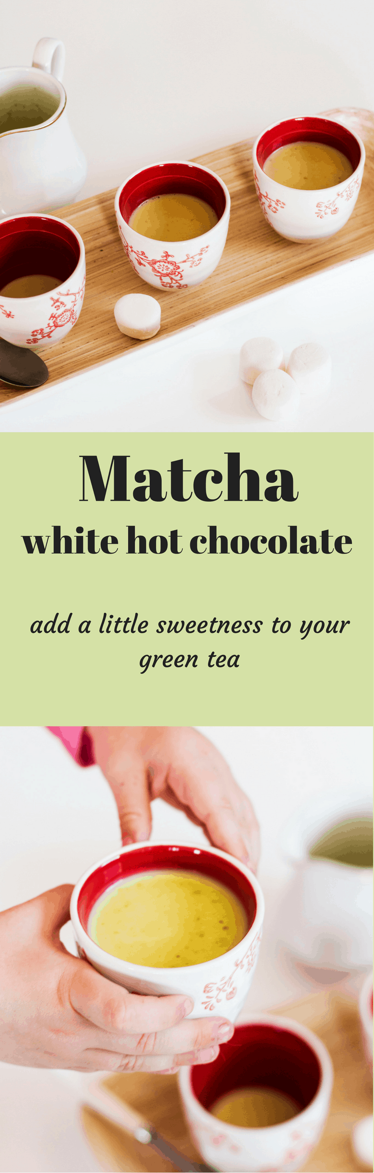 White Matcha Hot Chocolate. Add a little sweet to your matcha. Perfect green color for a Halloween treat without food coloring