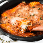 Spinach, Mushroom and Ricotta Cheese Manicotti Skillet
