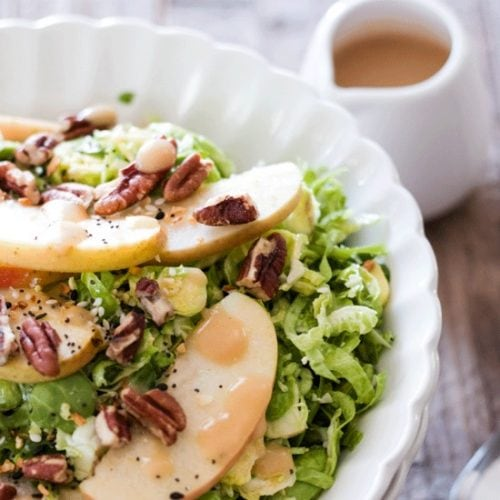 Shaved Brussels Sprouts Apple Salad with Miso Dressing