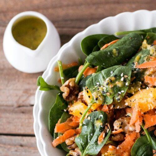 Garlicky Orange Spinach Salad