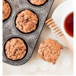 Oatmeal Sweet Potato Banana and Date Muffins in an old textured muffin tin