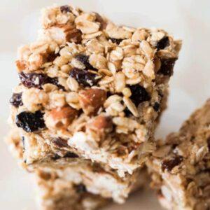 stack of Healthy no bake granola bars