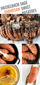 Hasselback Sweet Potatoes pinnable image showing the steps involved in making the sweet potatoes
