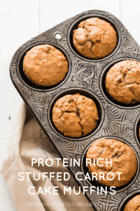 Protein-rich carrot cake muffins stuffed with cream cheese