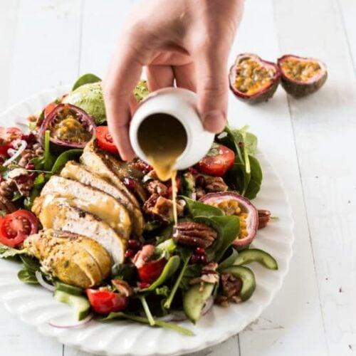 Avocado Chicken Salad Recipe with Passion Fruit Vinaigrette