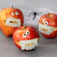 easy monster apples for a fun Halloween party food idea