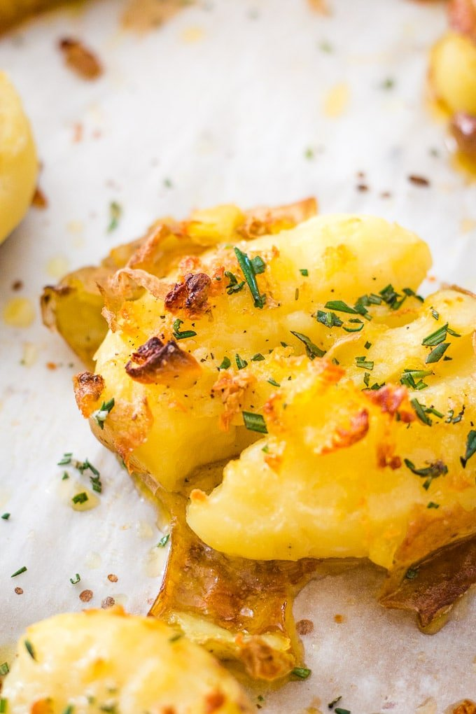 Up close shot of smashed potato