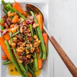 Maple Glazed Sauteed Green Beans and Carrots with Prosciutto and Walnuts