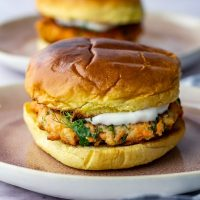 15 Minute Salmon Burgers with Garlic Yoghurt