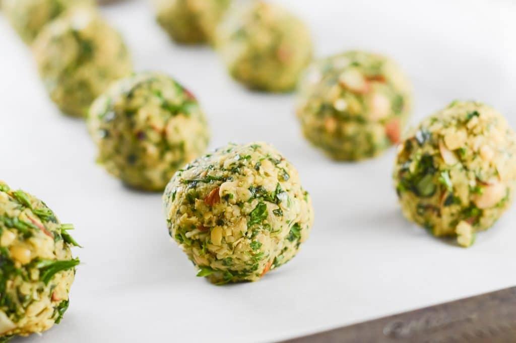 rolled uncooked falafel balls