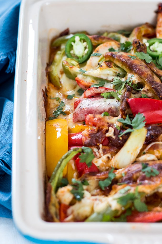 chicken fajita casserole up close