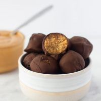 Chocolate Peanut Butter Protein Bites made with Almond Pulp