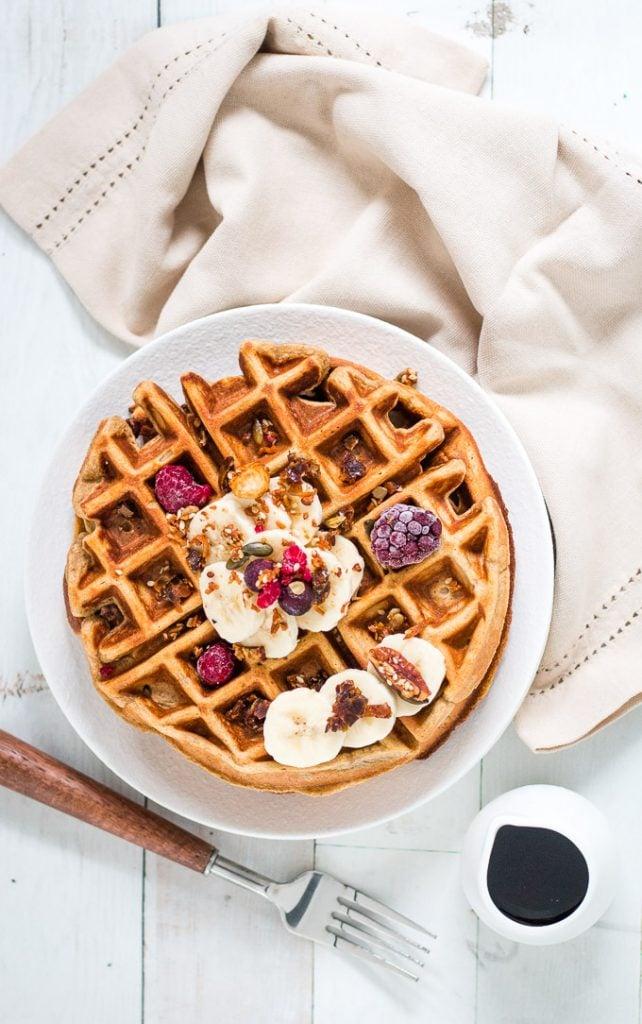 Banana date and oat flour waffles