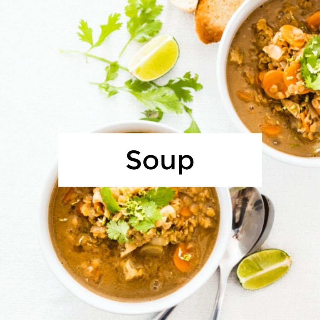 an image of two bowls of soup against a white background with the word soup written across it