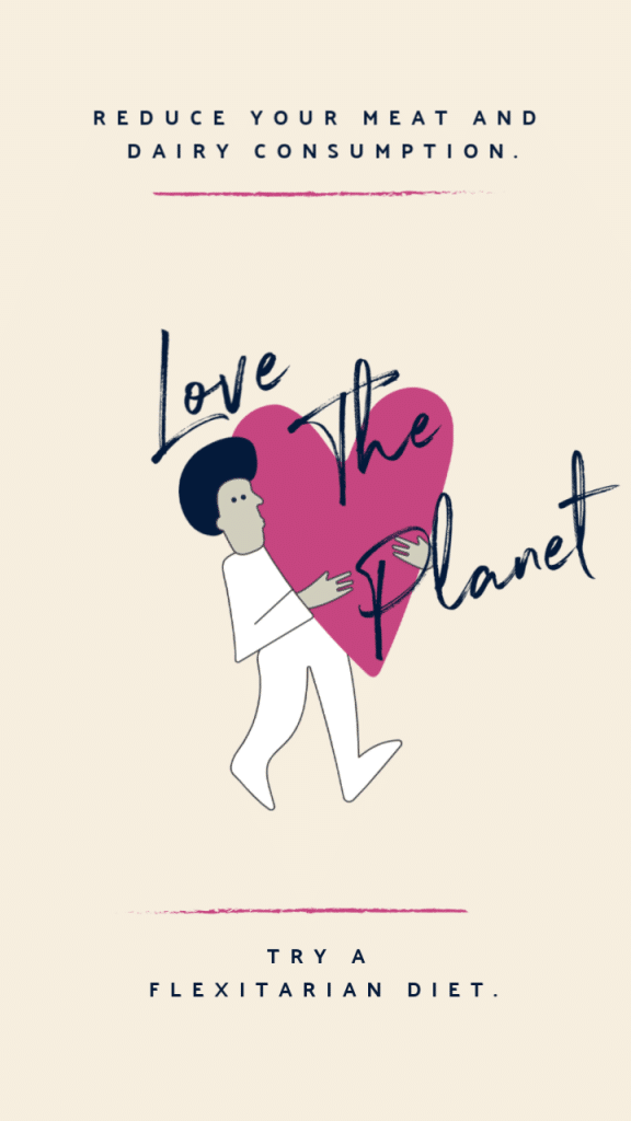 Man hugging a heart with a sign reading love the planet