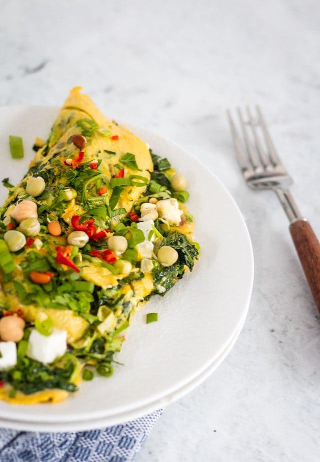 close up shot of veggie omelette