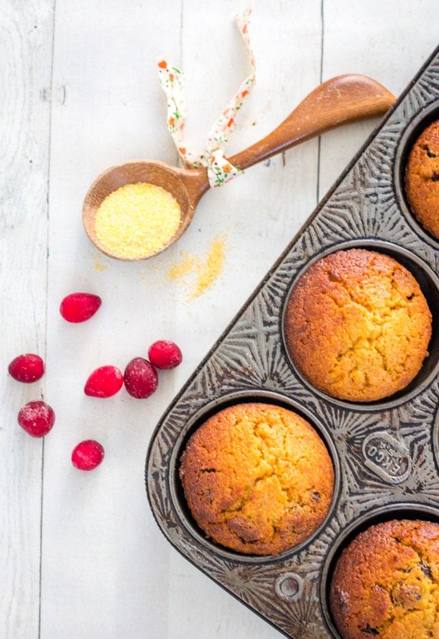 Cranberry and Honey Cornbread Muffins