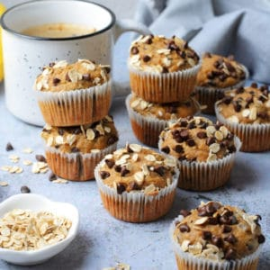 Peanut butter chocolate chip banana oatmeal muffins