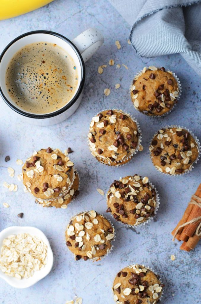 Overhead shot of Peanut butter chocolate chip banana oatmeal muffins
