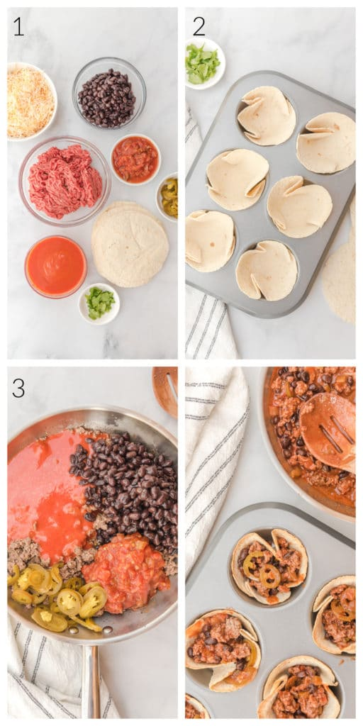 Process shots of assembling ingredients for beef and bean enchiladas
