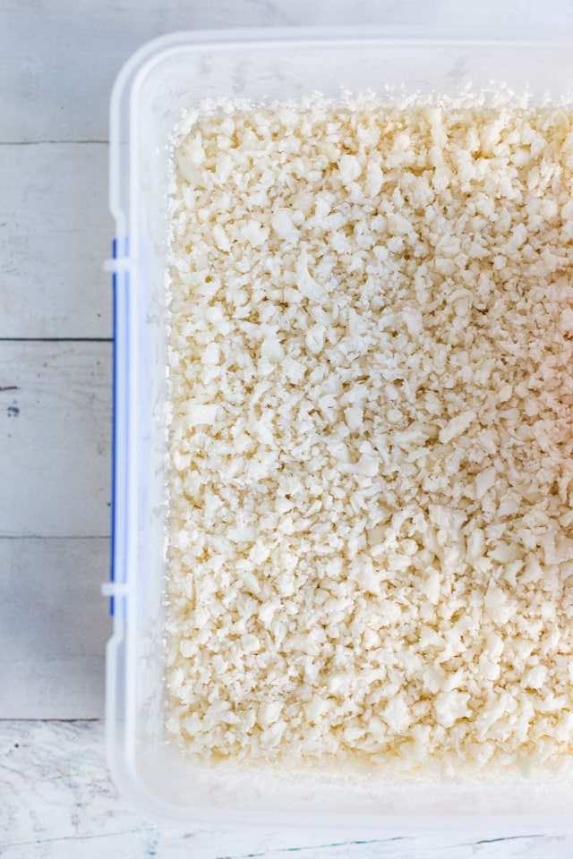 Cauliflower rice in a clear plastic container