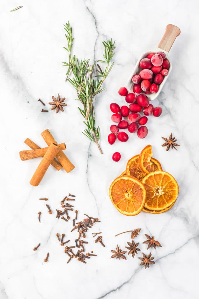 Overhead shot of ingredients required for homemade potpourri
