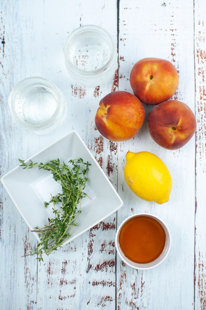 Ingredient shot for thyme honey and peach gin cocktail