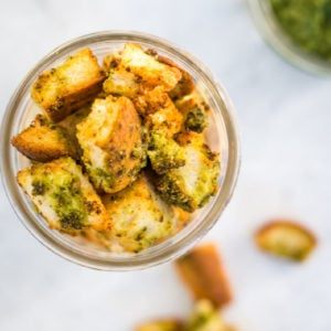 overhead shot of pesto croutons made in the air fryer