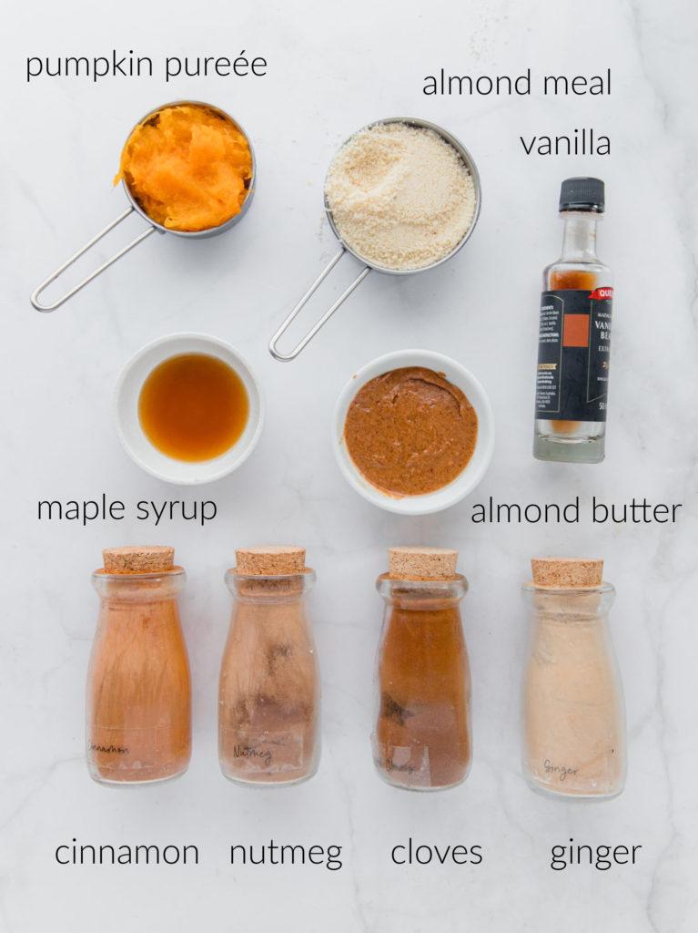 Overhead labelled ingredient shot of ingredients needed for pumpkin spice energy balls