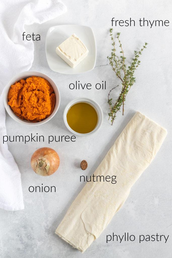 Overhead ingredient shot of ingredients for pumpkin filo savory hand pies