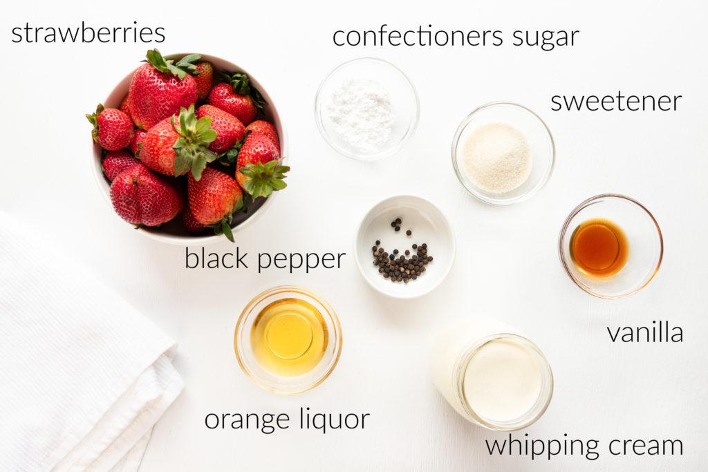 overhead ingredient shot of ingredients for grand marnier macerated strawberries